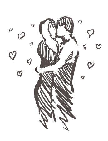 Croquis d'embrasser des amoureux avec des coeurs. Amour dessiné à la main isolé sur fond blanc.