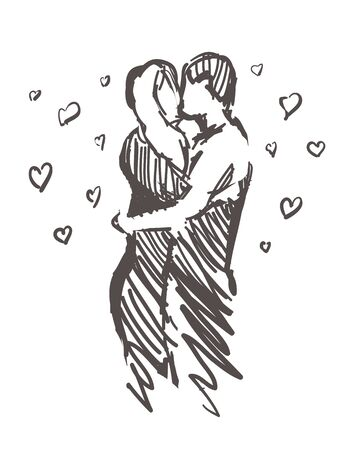 Sketch of kissing lovers with hearts. Hand drawn love isolated on white background.