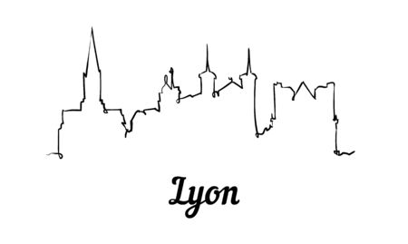 One line style Lyon skyline. Simple modern minimalistic style vector. Isolated on white background. 矢量图像