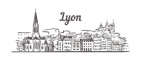 Lyon skyline sketch. Lyon, France hand drawn illustration isolated on white background.