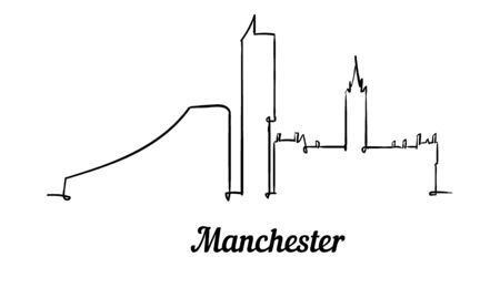 One line style Manchester skyline. Simple modern minimalistic style vector. Isolated on white background.
