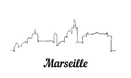 One line style Marseille skyline. Simple modern minimalistic style vector. Isolated on white background.  イラスト・ベクター素材