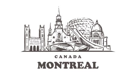 Montreal sketch skyline. Canada, Montreal hand drawn vector illustration. Isolated on white background.
