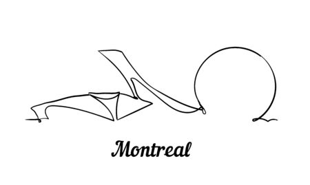 One line style Montreal skyline. Simple modern minimalistic style vector. Isolated on white background.