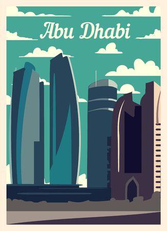 Retro poster Abu Dhabi city skyline. vintage, Abu-Dhabi vector illustration.