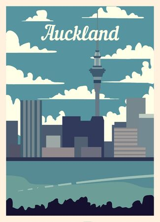 Retro poster Auckland city skyline. vintage, Auckland vector illustration.