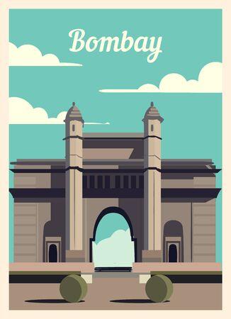 Retro poster Bombay city skyline. Bombay vintage, vector illustration.