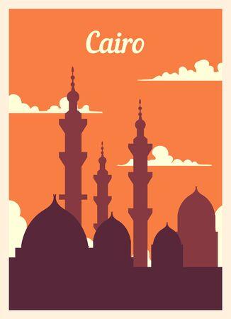 Retro poster Cairo city skyline. Cairo vintage, vector illustration.