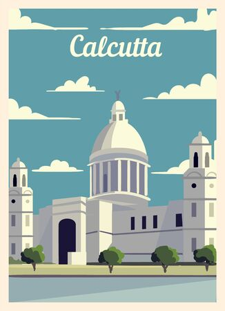 Retro poster Calcutta city skyline. Calcutta vintage, vector illustration. Иллюстрация