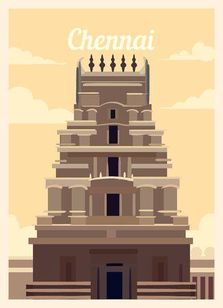 Retro poster Chennai city skyline. Chennai vintage, vector illustration.