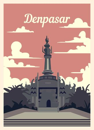 Retro poster Denpasar city skyline. Denpasar vintage, vector illustration. Ilustrace