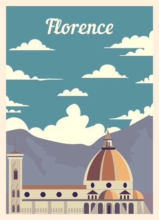 Retro poster Florence ity skyline. Florence vintage, vector illustration. Ilustracja