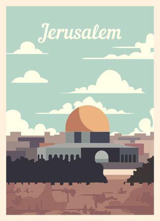Retro poster Jerusalem city skyline. Jerusalem vintage, vector illustration. Vettoriali