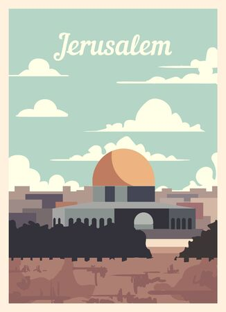 Retro poster Jerusalem city skyline. Jerusalem vintage, vector illustration.