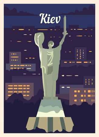 Retro poster Kiev city skyline. Kiev vintage, vector illustration.