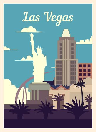 Retro poster Las Vegas city skyline. Las-Vegas vintage, vector illustration.