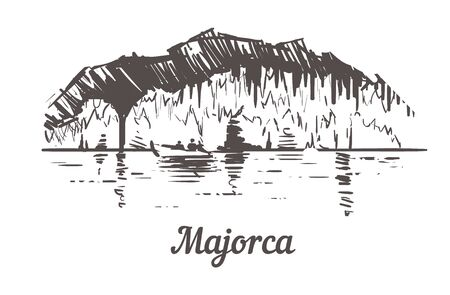 Majorca dragon caves sketch. Majorca hand drawn illustration isolated on white background. Иллюстрация