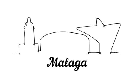 One line style Malaga skyline. Simple modern minimalistic style vector. Isolated on white background.