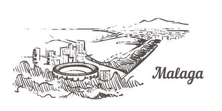 Malaga skyline sketch. Malaga hand drawn illustration isolated on white background.