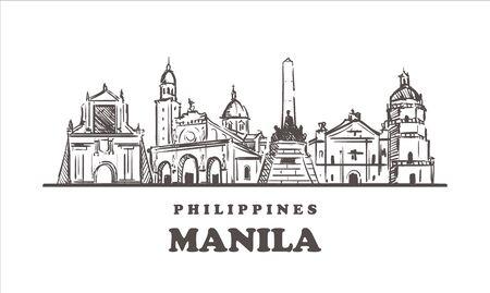 Manila sketch skyline. Philippines, Manila hand drawn vector illustration. Isolated on white background. Ilustración de vector