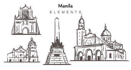 Set of hand-drawn Manila buildings elements sketch vector illustration. Ilustración de vector