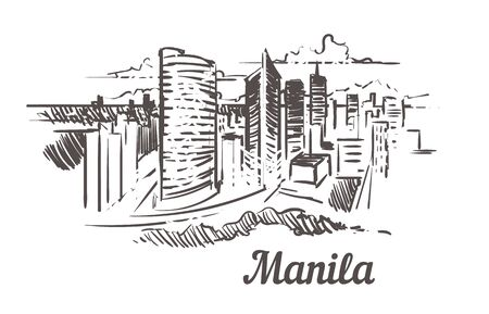 Manila skyline sketch. Manila hand drawn illustration isolated on white background.