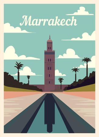 Retro poster Marrakech city skyline. Marrakech vintage, vector illustration.