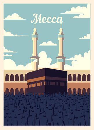 Retro poster Mecca city skyline. Mecca vintage, vector illustration.