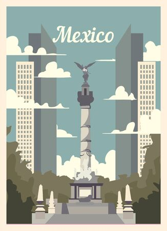 Retro poster Mexico city skyline. Mexico vintage, vector illustration.