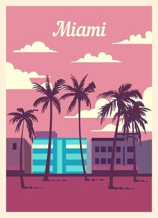 Retro poster Miami city skyline. Miami vintage, vector illustration.  イラスト・ベクター素材