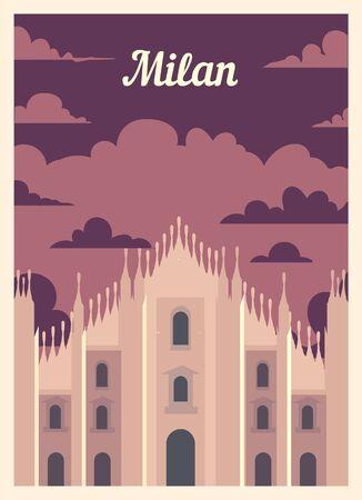 Retro poster Milan city skyline. Milan vintage, vector illustration.