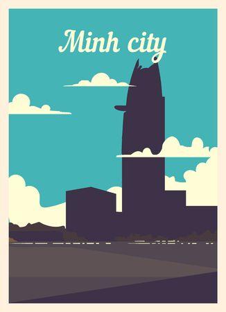 Retro poster Minh City city skyline. vintage, Minh-City vector illustration.  イラスト・ベクター素材