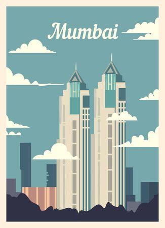 Retro poster Mumbai city skyline. vintage, Mumbai vector illustration.