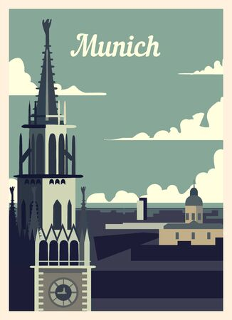 Retro poster Munich city skyline. vintage, Munich vector illustration.