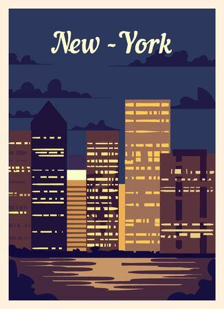 Retro poster New York city skyline. vintage, New-York vector illustration.