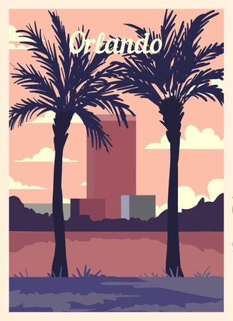 Retro poster Orlando city skyline. vintage, Orlando vector illustration.