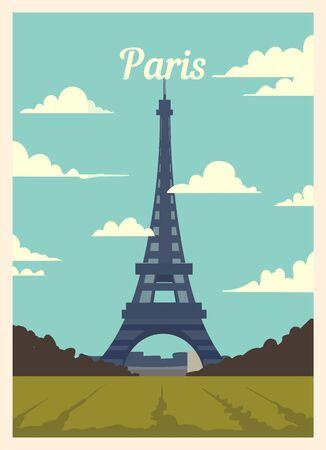 Retro poster Paris city skyline. Paris vintage, vector illustration.