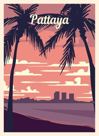 Retro poster Pattaya city skyline. vintage, Pattaya vector illustration.