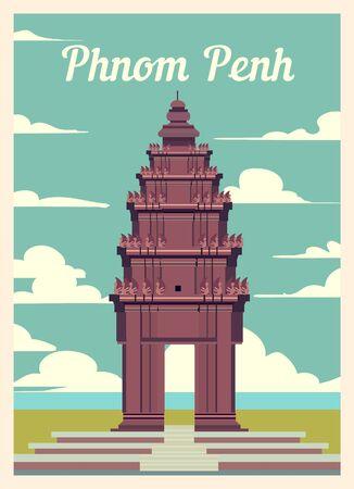 Retro poster Phnom Penh city skyline. Phnom-Penh vintage, vector illustration.