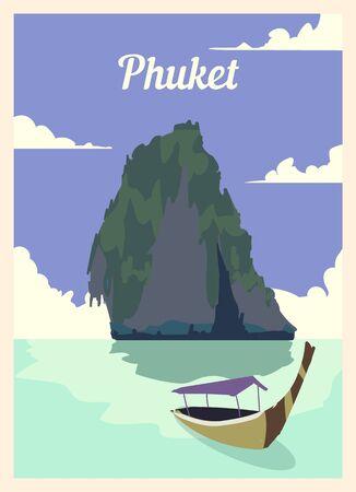 Retro poster Phuket city skyline. Phuket vintage, vector illustration.