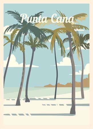 Retro poster Punta Cana city skyline. vintage, Punta-Cana vector illustration.