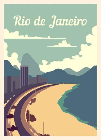 Retro poster Rio De Janeiro city skyline. Rio vintage, vector illustration.