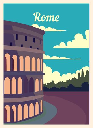 Retro poster Rome city skyline. vintage, Rome vector illustration.