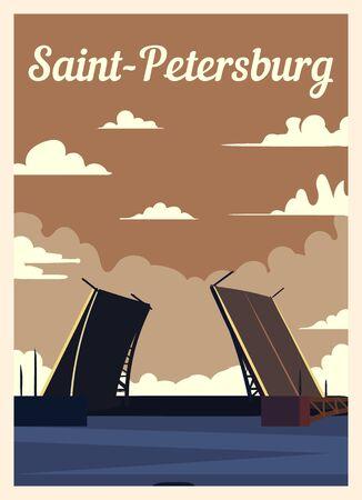 Retro poster Saint Petersburg city skyline. vintage, Saint-Petersburg vector illustration.
