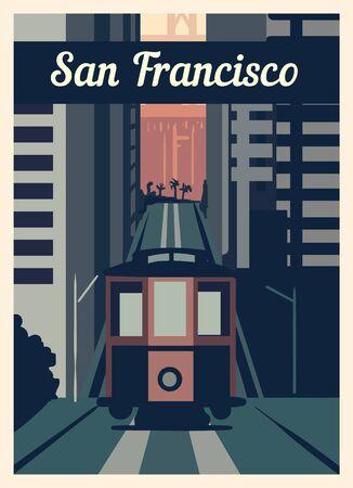 Retro poster San Francisco city skyline. San-Francisco vintage, vector illustration.  イラスト・ベクター素材