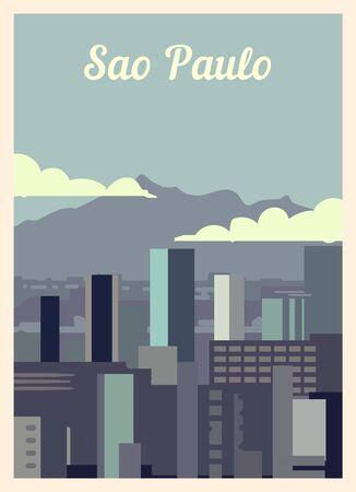 Retro poster Sao Paulo city skyline. vintage, Sao-Paulo vector illustration.  イラスト・ベクター素材