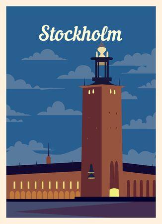 Retro poster Stockholm city skyline. vintage, Stockholm vector illustration.