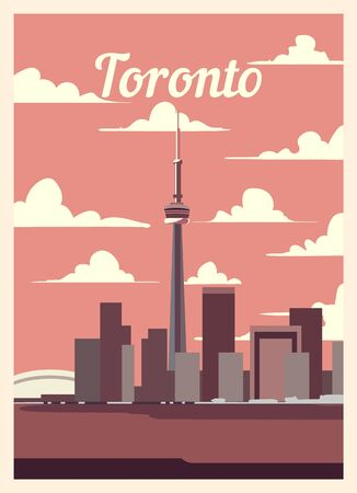 Retro poster Toronto city skyline. vintage, Toronto vector illustration. 일러스트