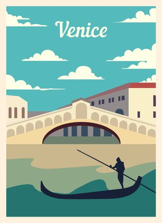 Retro poster city Venice skyline. vintage, Venice vector illustration.