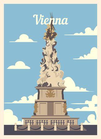 Retro poster Vienna city skyline. Vienna vintage, vector illustration.